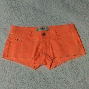 NWOT Hollister Neon Orange Low Rise Shorts 25 sz 1
